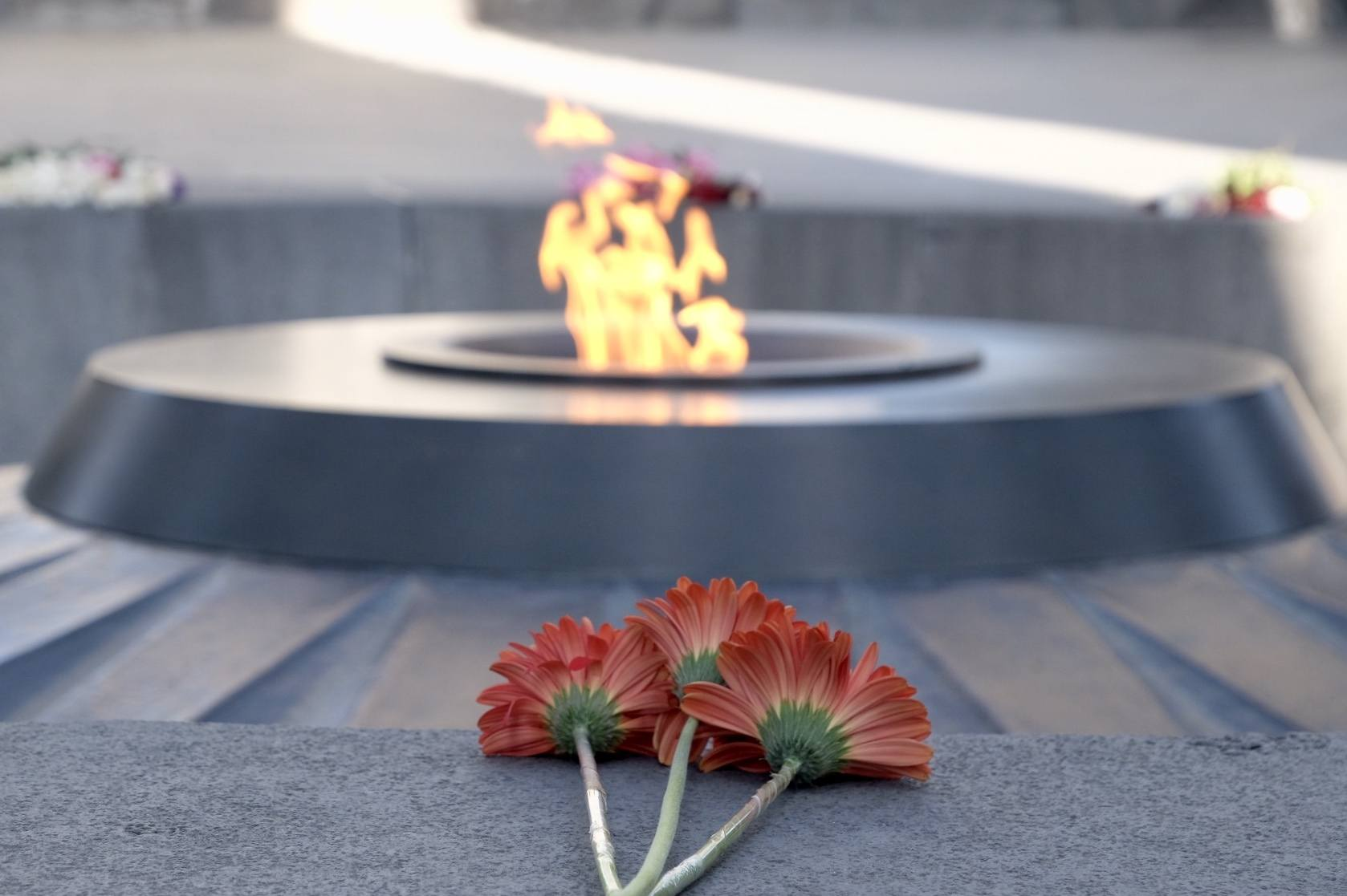 Three red flowers placed in front of there eternal flame at the Armenian Genocide Memorial.