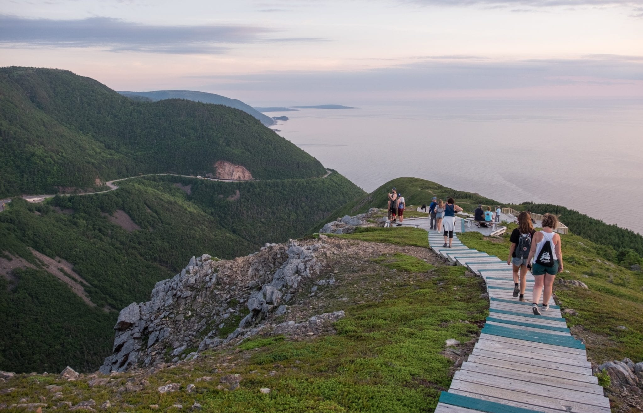A staircase descending the hills at dusk in Cape Breton Highlands National Park