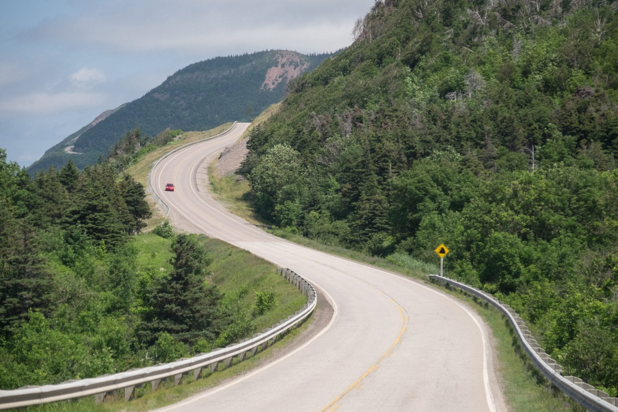 A curvy road surrounded by forest in Cape Breton, Nova Scotia.