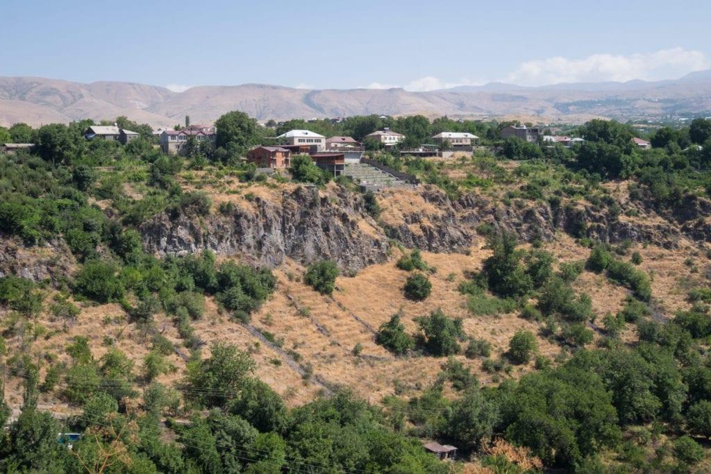 Cliffs rising up near Garni Temple.