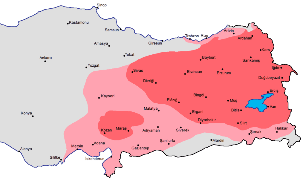 A map showing current day Turkey and that the eastern part of it was primarily ethnically Armenian.