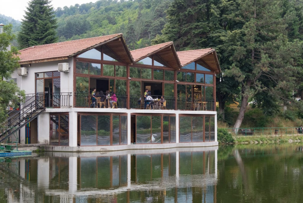 A cafe building in the forest perched on the edge of a lake, like it's rising up from it.
