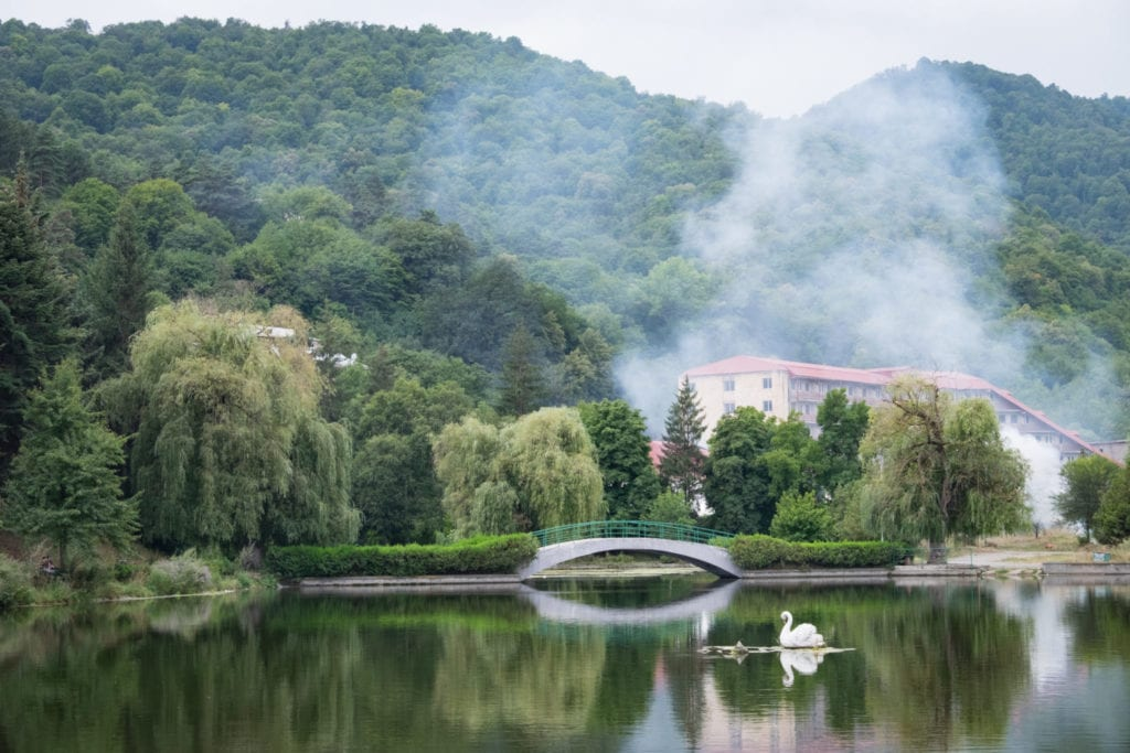A smooth, glassy lake in the mountains of Dilijan, underneath a gray sky, mountains rising in the background. There is a swan on the lake.
