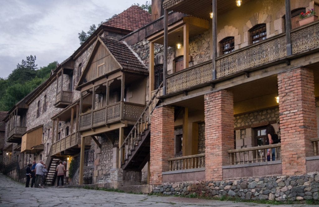 Traditional wood and brick homes in Dilijan, Armenia.