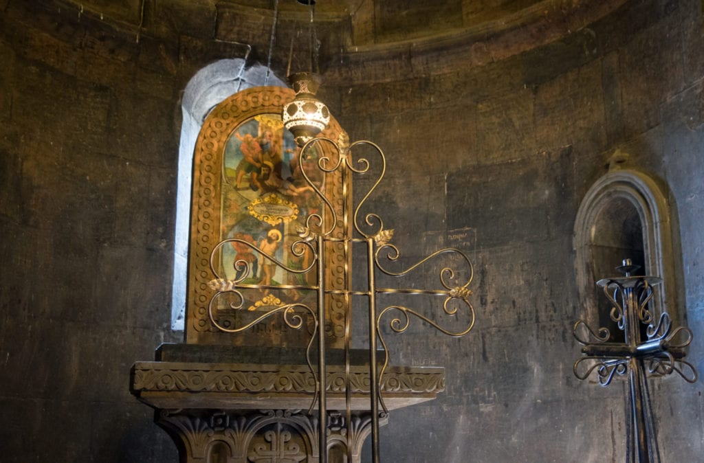 An altar inside For Virap monastery, with gold hardware.