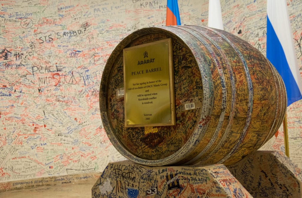 "Ararat Brandy's ""Peace Barrel"" signed by locals wishing for peace with Azerbaijan."