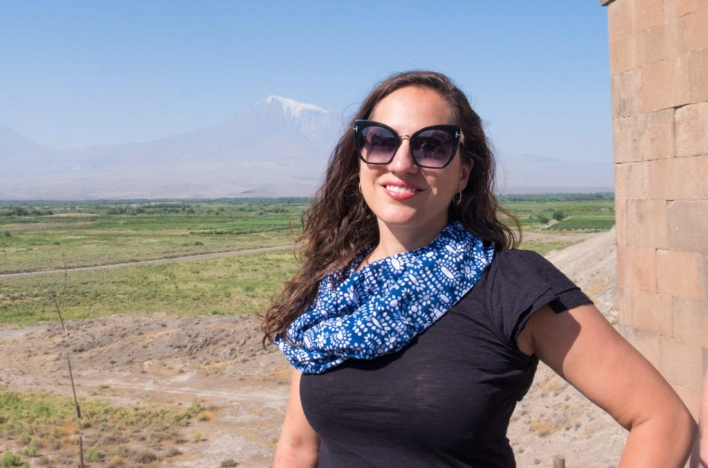 Kate in front of Mount Ararat