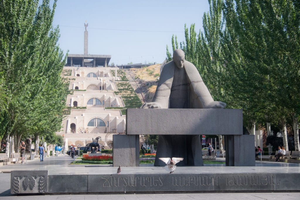 The Cascade in Yerevan, Armenia, staircases on each side of the pyramid, a sculpture park in front.