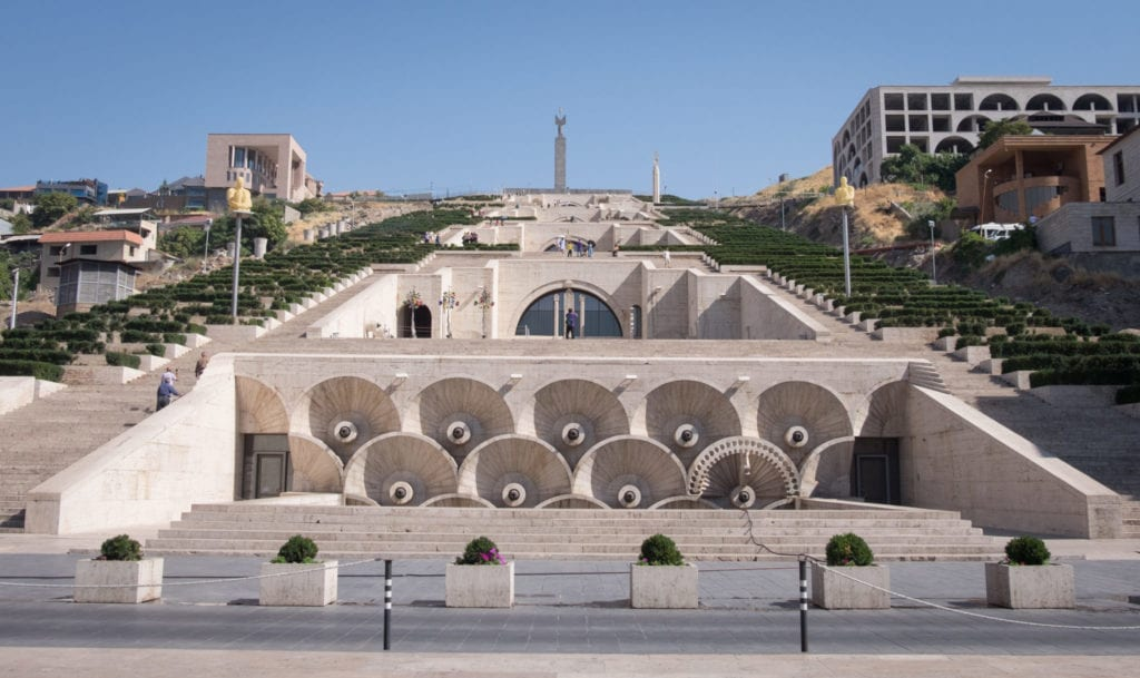 The Yerevan Cascade, a pyramid-shaped structure filled with lights and fountains.