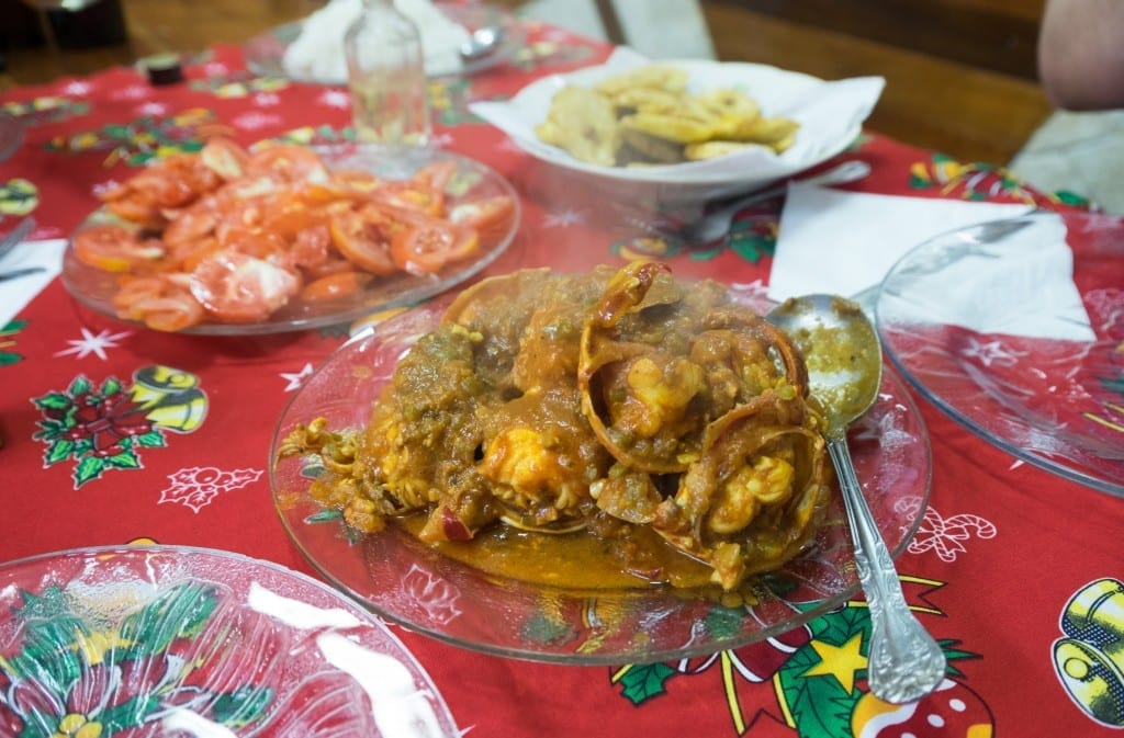 Lobster stewed in tomatoes, onions and peppers.