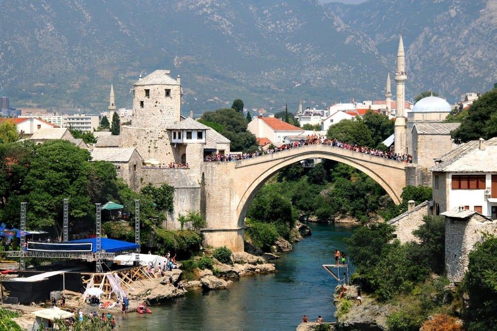 The bridge and skyline in Mostar, Bosnia