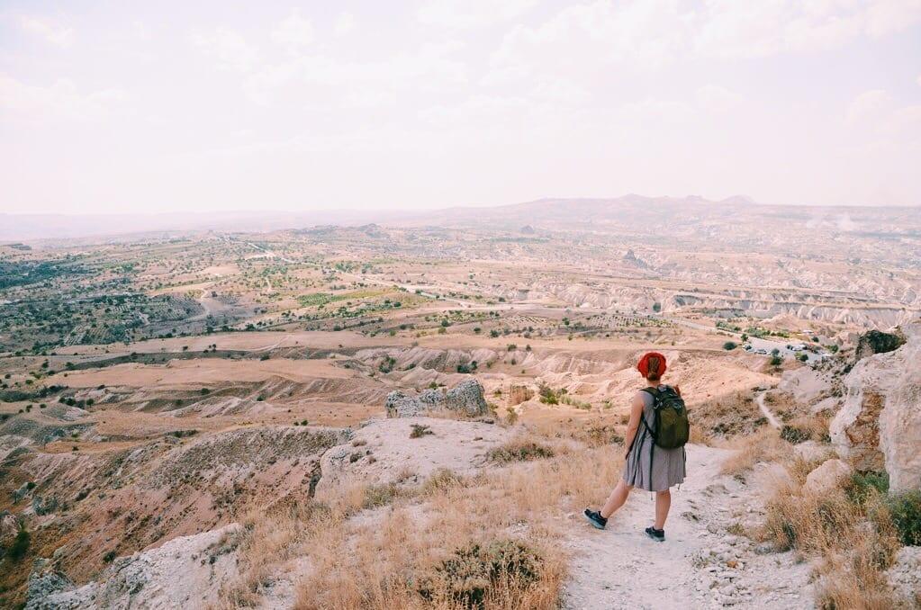 Kate overlooking Turkey's desert, mountainous landscape.