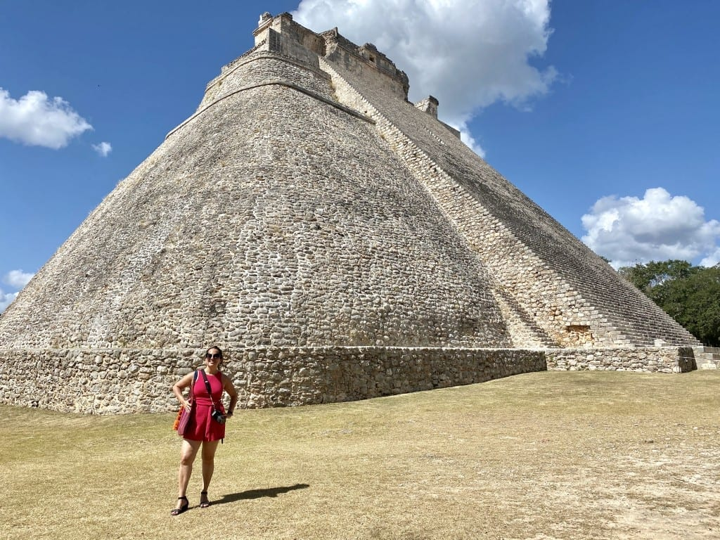 Kate in front of a pyramid in Uxmal, Mexico.