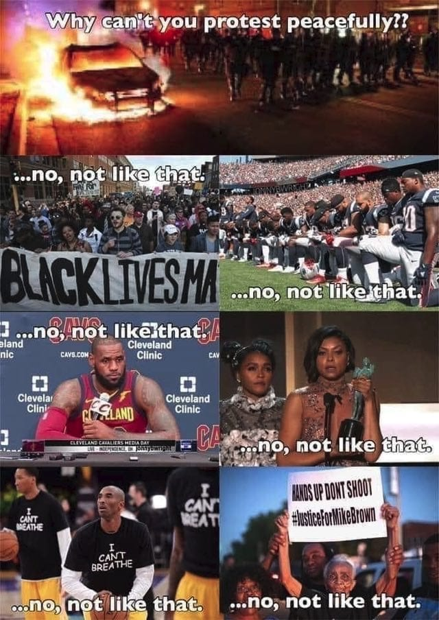"""""""Why can't you protest peacefully?"""" Black Lives Matter graphic."""