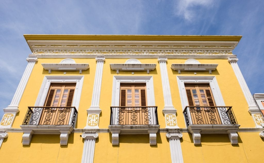 Yellow colonial building in Mexico