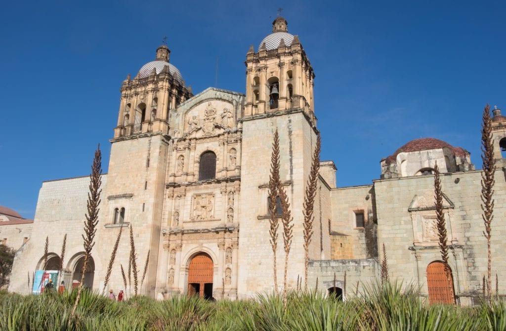 The brown stone Templo Santo Domingo Church with its towers, rising behind wild greenery and what looks like weeds.