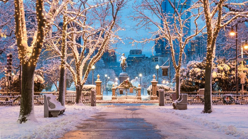 Boston's public garden on a snowy evening, snow blanketing trees and a statue of George Washington on a horse.