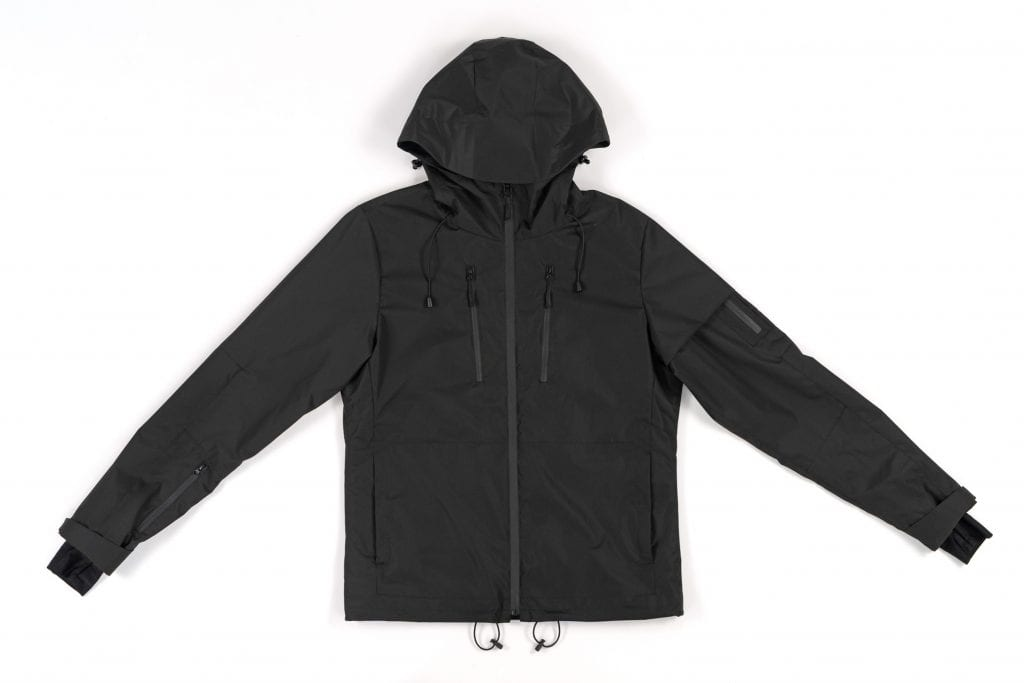 A black Gamma jacket: it's made of graphene, it has a hood, and it has pockets and straps that can adjust to your body.