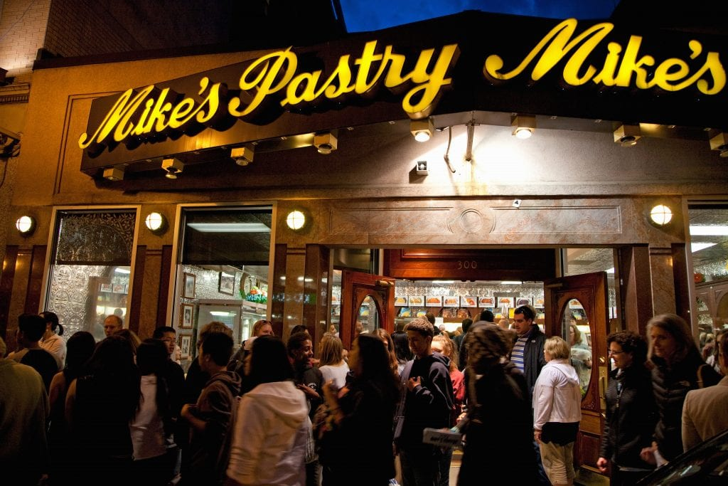 Big crowds lined up outside Mike's Pastry in Boston.