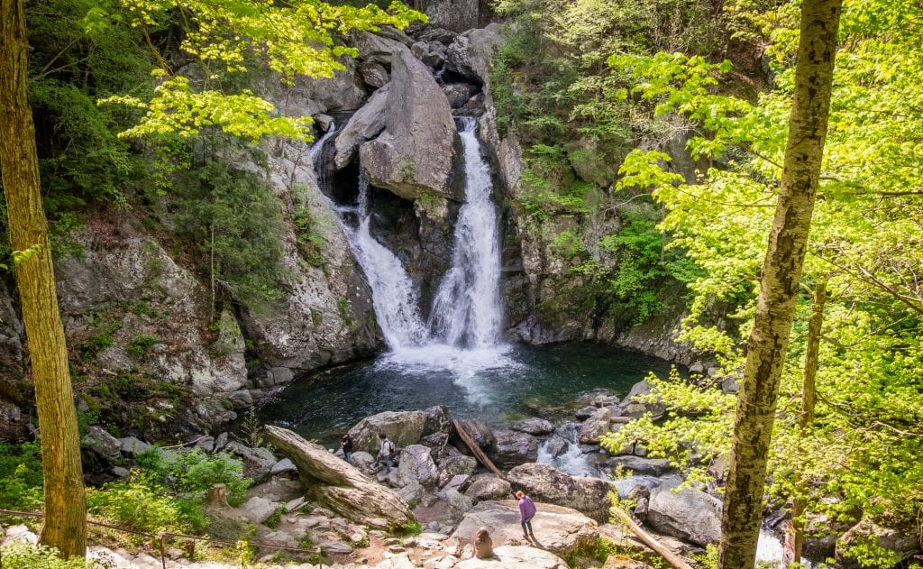 Bish Bash Falls: an intense, furious waterfall, technically a single-drop but it looks like it's coming from two sides, emptying into a dark teal pool. It's surrounded by bright green vegetation and close to the edge of the pool, you see tiny people, which makes you realize how big it is!