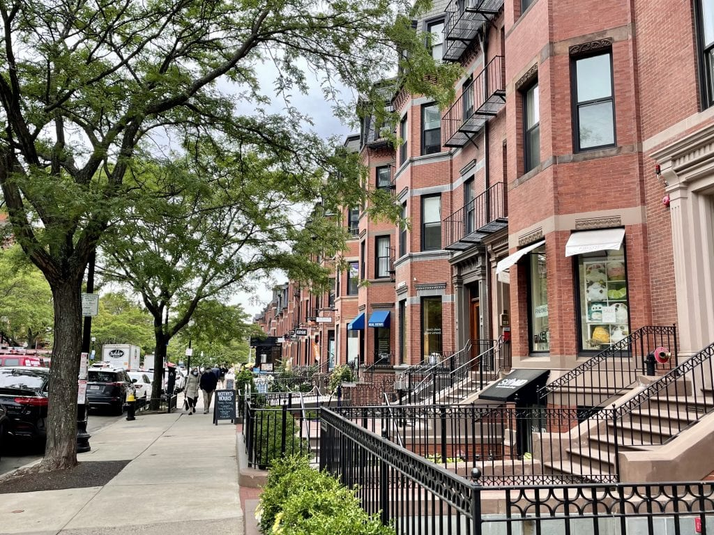 Newbury Street in Boston: rows of brick brownstones filled with small boutiques.