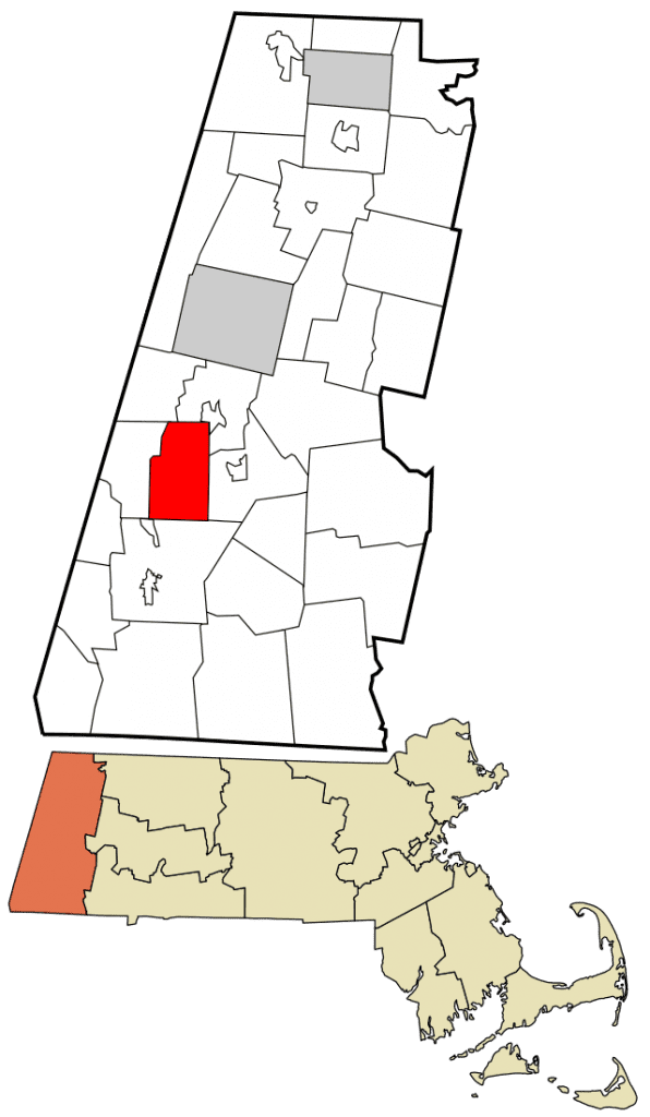 A map of Berkshire county, showing that it's the westernmost county in Massachusetts.