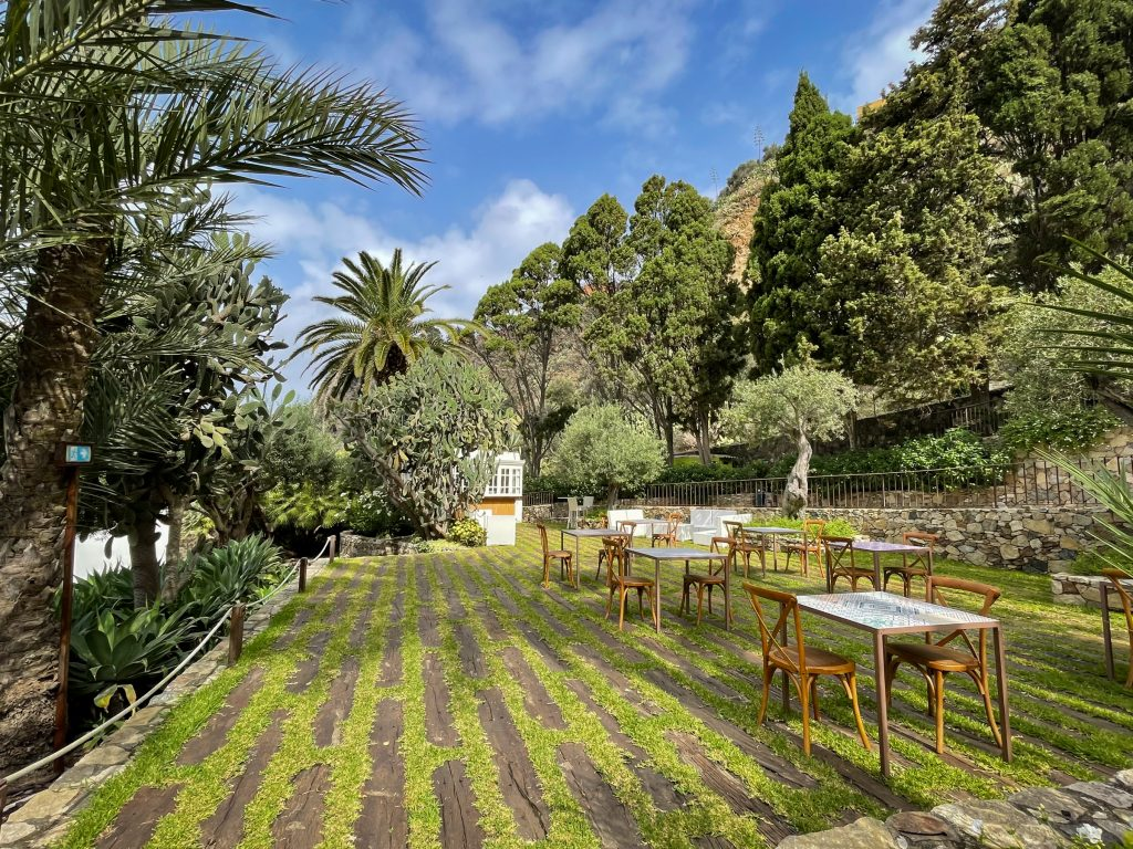 The grounds of Ngonia Bay: an open green area with tons of cactus and tree landscaping. The ground had boards interspersed with green grass, and there are several sets of tables topped with Sicilian tiles and wooden chairs.