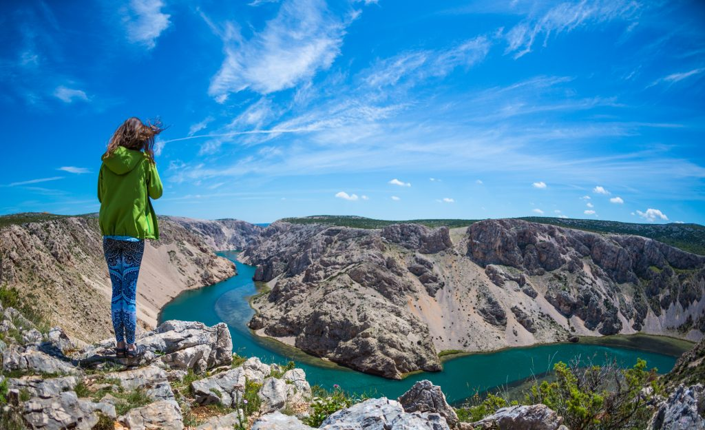 A woman in hiking pants and a green jacket stands overlooking a deep gray canyon, a green river snaking through it.