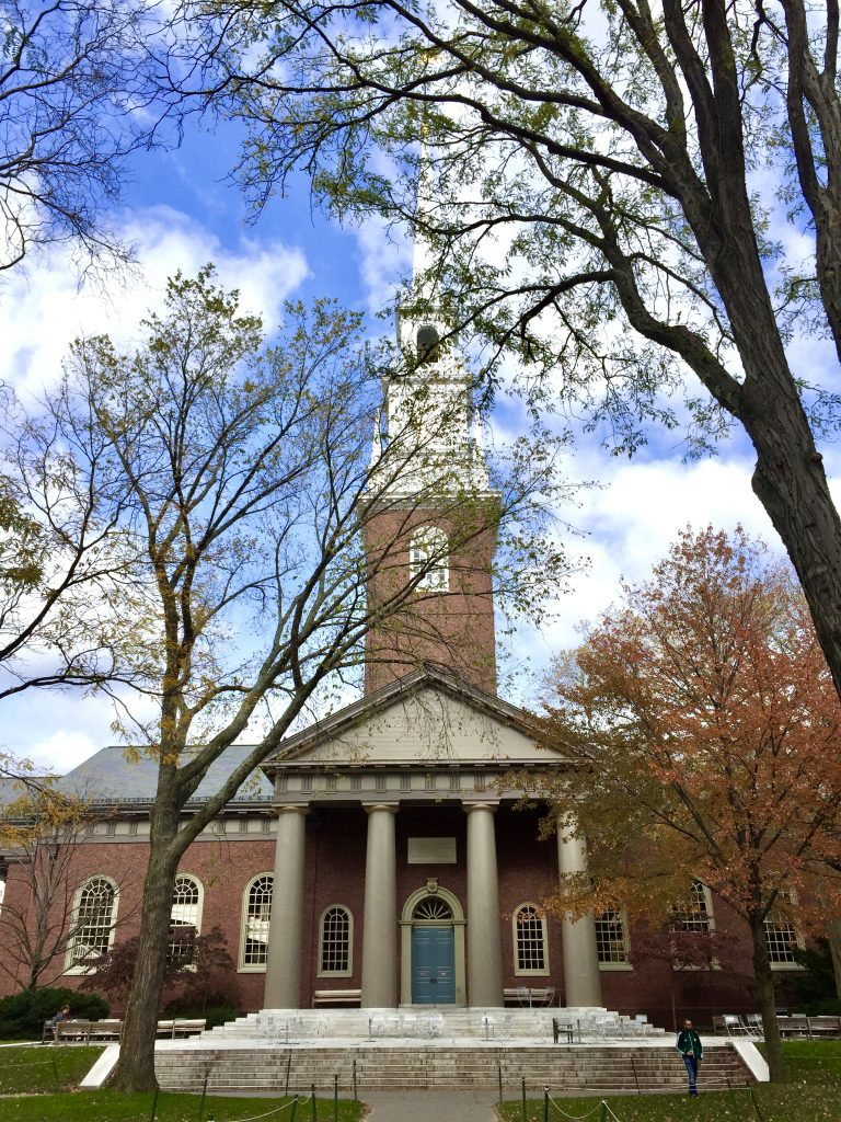 A tall steeple-topped building at Harvard hidden behind brown leaves.