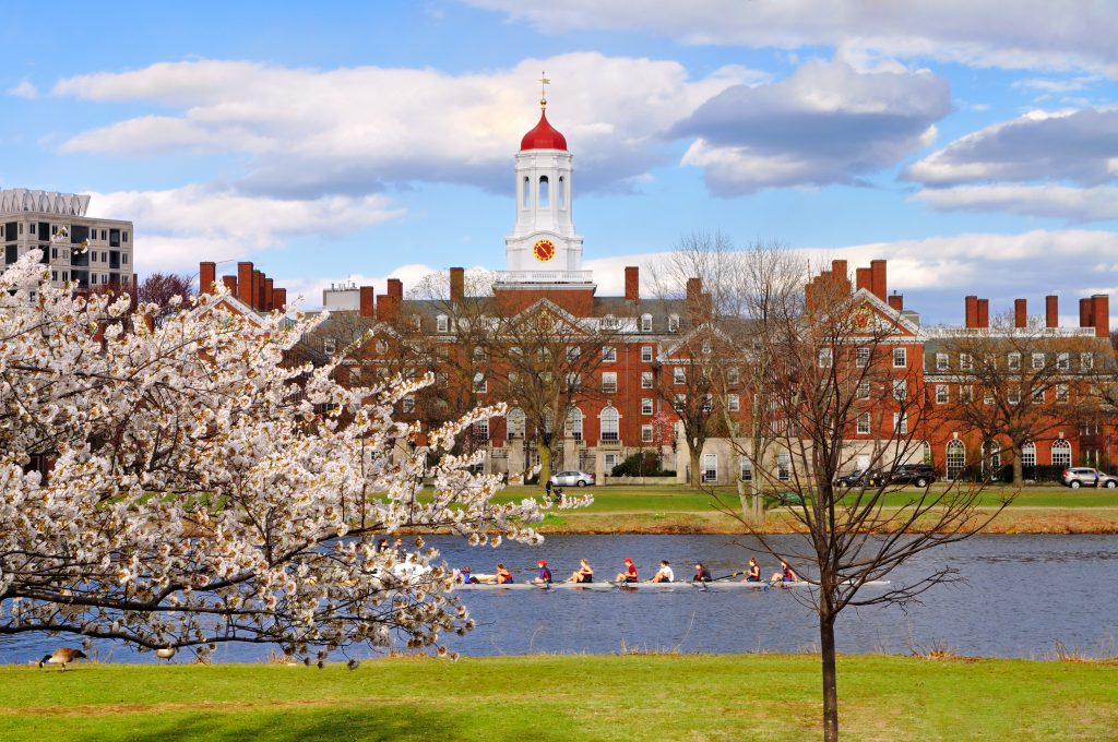 A slim rowboat with eight rowers rowing down the river; in the background, a red brick building at Harvard University topped with a clock tower.